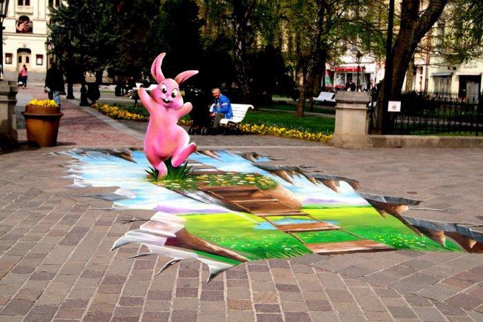 Ilustračný obrázok k článku Zvláštna maľba na Hlavnej púta pozornosť Košičanov: Aha, aký zajac! FOTO