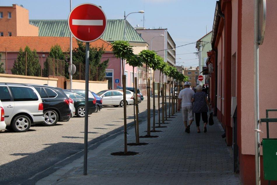 Ilustračný obrázok k článku Práce v uliciach pokračujú: Viaceré opravené chodníky už zdobia nové stromy, FOTO