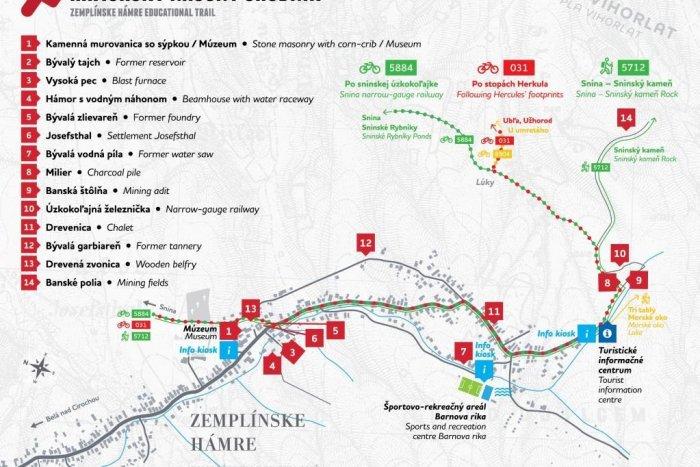 Mapka Hámorského náučného chodníka