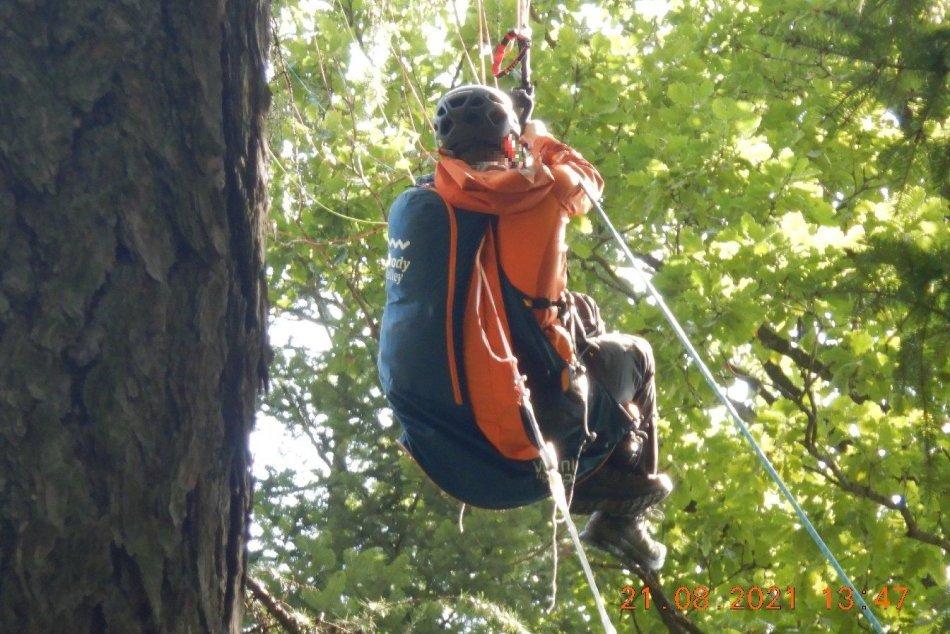 Ilustračný obrázok k článku Paraglajdista uviazol na strome: Záchranná akcia na FOTO
